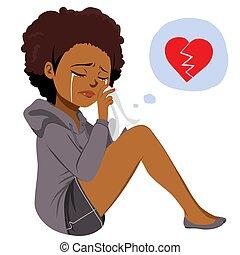 Heartbroken Black Woman Crying