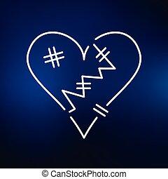 Heartbroken icon on blue background