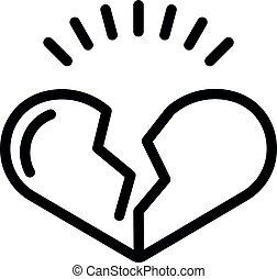 Heartbroken icon, outline style