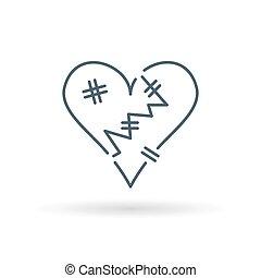Heartbroken icon white background