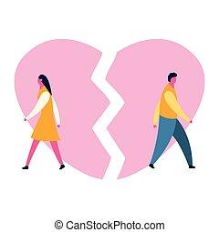 heartbroken sad young man guy and woman girl couple parting divorce. depression vector