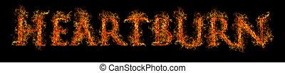 Heartburn / Acid Reflux Concept in Bright Flames