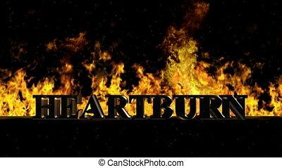 Heartburn Burning Hot Word in Fire