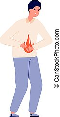 Heartburn. Person stomach problem, gastroesophageal reflux ...