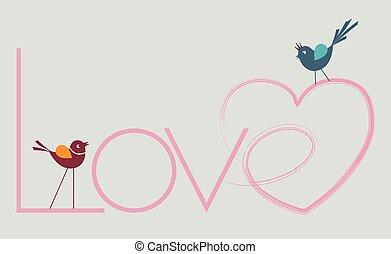 hearted, amor, escritura, y, aves