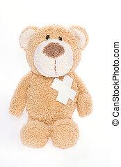 hearted, cassé, ours, teddy