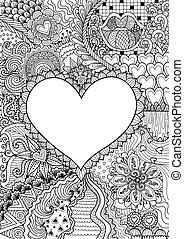 empty hearted shape for copy space surrounded by beautiful flowers for printing, card, invitation, coloring book, coloring page and colouring picture. Vector illustration
