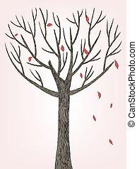 hearted, forma, árbol, con, caer sale