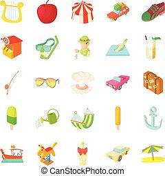 hearted ligero, vacaciones, iconos, conjunto, caricatura,...