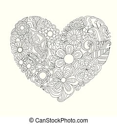 Flowers, leafs in hearted shape for print and adult coloring book, coloring page, colouring picture and other design element. Vector illustration