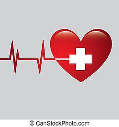 Hearth with ekg line, vector illustration