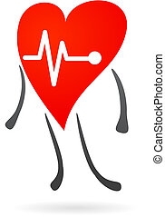 Hearth health symbol - Hearth character with EKG graph