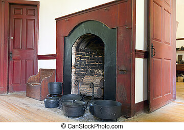 Hearth - Image of a large hearth in a historic shaker house