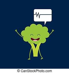 heartrate, mignon, sain, fond, brocoli, icône