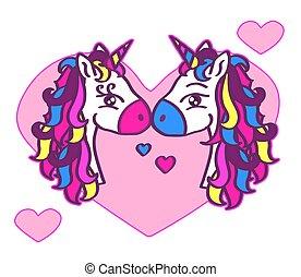 hearts., かわいい, 2, 背景, 一角獣