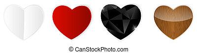 hearts., ベクトル, セット, イラスト