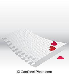 hearts., 抽象的, ペーパー, 愛, letter.