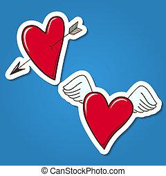 hearts., 赤