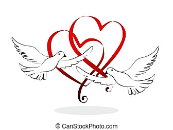 hearts - abstract and decorative wedding element with doves