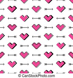Hearts and arrows seamless pattern. Robot in love