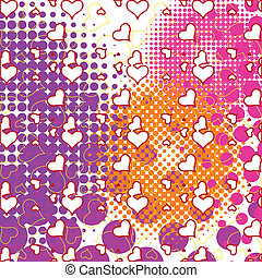 hearts and bubbles pattern
