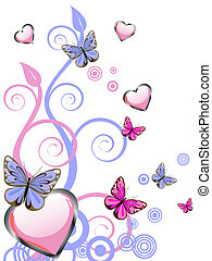 hearts and butterflies - vector illustration of pink hearts ...