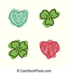 Hearts and clover leafs