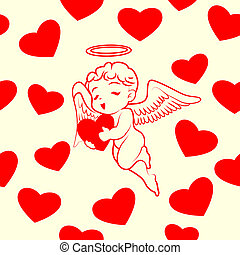 Hearts and cupid  seamless pattern vector