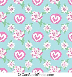 hearts and floral romantic seamless vector pattern