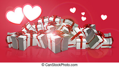 hearts and gift boxes 3d render