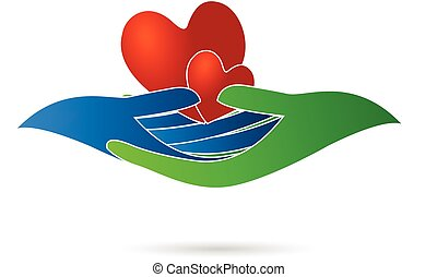 Hearts and hands logo vector image