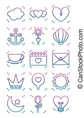 hearts and kawaii icon set, gradient line style