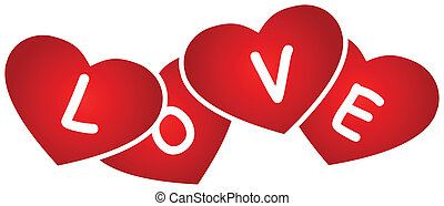 Hearts And Love Sign - Hearts And Love Text On A White...