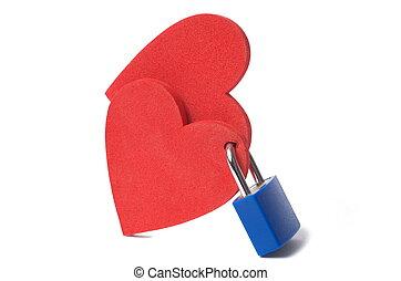 Hearts and padlock