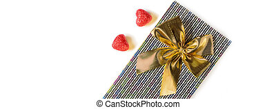 Hearts and present on white background.