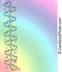 Hearts and rainbow background