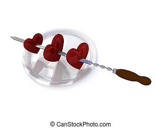 Hearts and skewer - red hearts on steel skewer