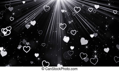 hearts and stars flying in light rays loop