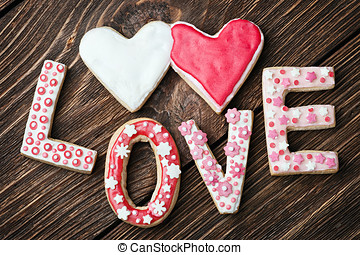 hearts and the word love of cookies for the holiday Valentine's Day