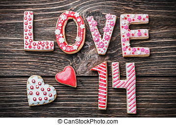 hearts and the word love of cookies