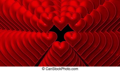 Hearts appearing on black background