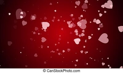 Hearts are falling against a red background.