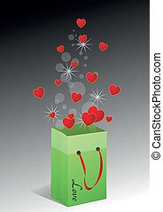 hearts bag - illustration of bag with red hearts