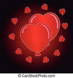 Hearts balloon on black- red  background