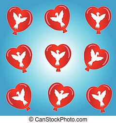 Hearts balloon with doves on blue background