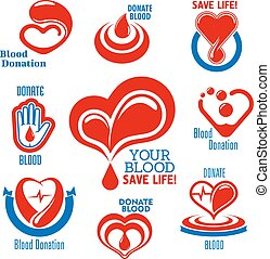 Hearts, blood drops, hand icons for medical design