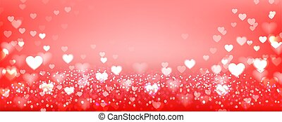 Hearts bokeh background. Red festive background with bokeh. Vector illustration