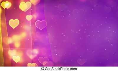 hearts bokeh lights and curved lines loopable background