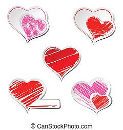 hearts  - Set of five hearts sticker