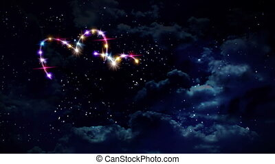 hearts color star at night - starry night in space...